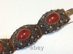 Bracelet Agate Antique En Argent Sterling Chinois Art Déco Doré Fin (m1508)