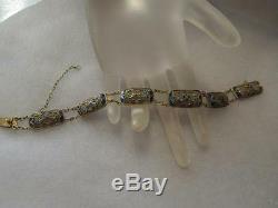 Bracelet Ancien En Argent Avec Filigrane Et Émail De Chine
