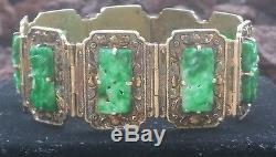 Bracelet Ancien En Argent Doré Avec Jade Jadeite Chinoise / Bracelet En Argent Sculpté Avec Jade