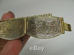 Bracelet Ancien En Argent Doré, Émaux Et Turqui