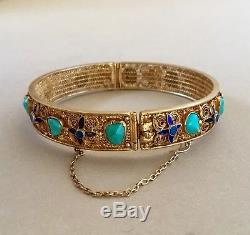 Bracelet Ancien En Filigrane, Émail Et Turquoise Naturelle Doré À L'exportation, Exportation Chinoise