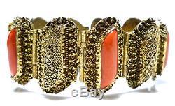Bracelet Ancien En Porcelaine Chinoise Antique En Filigrane Corail Argent Exporté