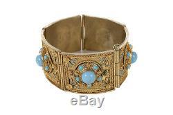 Bracelet Antique Avec Turquoises Et Argent Doré Avec Des Panneaux En Filigrane