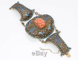 Bracelet Antique Chinois Sculpté Corail Lotus Émaillé En Argent Doré