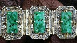 Bracelet Antique Chinois Sculpté En Jadeite Et Jade En Argent Doré Femme Sz 7.25 Pouces