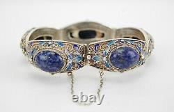 Bracelet Antique Chinois Sterling Silver Gilt Filigree Enamel Lapis