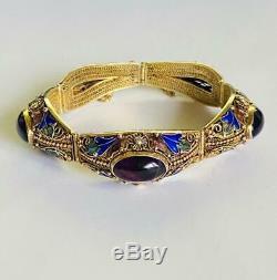 Bracelet Antique D'exportation Chinois D'or En Argent Sterling Doré Émail Amethyst Bangle