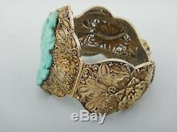 Bracelet Antique En Filigrane Chinoise Dorée Et Turquoise En Argent C1920