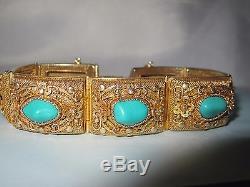 Bracelet Antique En Filigrane Turquoise Doré En Argent Massif Doré, Exportation Chinoise