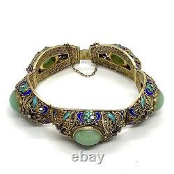 Bracelet Antique En Jade Argenté Chinois Gilded Filigree Ename. 7
