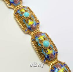 Bracelet Art Nouveau En Argent Doré Et Turquoise Avec Panneau Et Chauves-souris En Émail