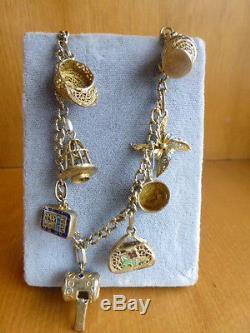 Bracelet Avec 8 Breloques Chinois D'époque En Argent Filigrane Doré Vermeil En Émail Doré