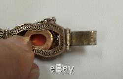 Bracelet Cabochon Corail Vintage En Argent Massif Doré Avec Émail Cloissone, Chine