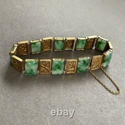 Bracelet Chinois Antique Argent Doré De Jade Découpé De Jade