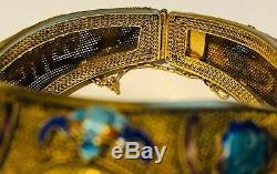 Bracelet Chinois D'exportation Quartz Rose Émail D'argent Avec De L'or Vermeil