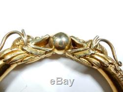 Bracelet Chinois Dragon Chasing Pearl Finition Dorée Sur Bracelet Épais En Argent