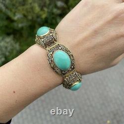 Bracelet Chinois En Filigrane Doré En Argent Sterling Turquoise Et Boucles D'oreilles Clip-on