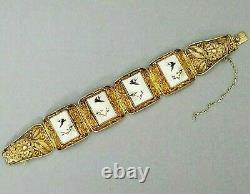 Bracelet Chinois Filigrane Vermeil Antique Vintage Vermeil Peinture Oiseaux
