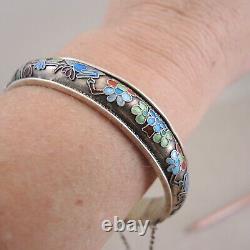 Bracelet Chinois Gilt Argent Cloisonne Bangle Fleur D'oiseau Enamel Antique Charnière