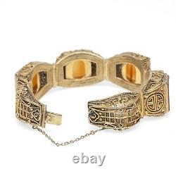 Bracelet Chinois Gilt & Carnelian Filigree Design Vintage Républicain