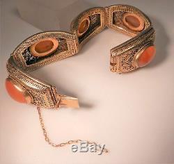 Bracelet Cornaline Cornaline Filigrane En Argent Doré À L'exportation Antique, Ex Cond
