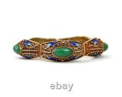 Bracelet D'exportation Chinois Silver Gilt, Jade & Émail
