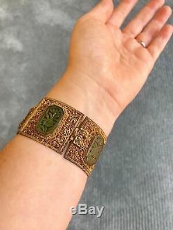 Bracelet Dynastie Qing Antique Avec Bracelet En Argent Et Laque De Chine, Fin 19ème Siècle