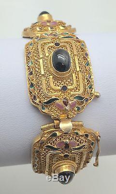 Bracelet Émaillé En Filigrane D'argent Massif Doré À L'export, En Porcelaine Chinoise