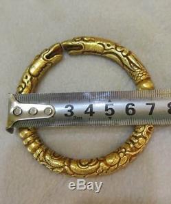 Bracelet En Argent Doré Chinois Double Dragon Veins Une Paire