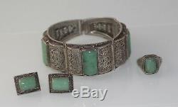 Bracelet En Argent Doré Vintage En Filigrane Jade Doré Avec Anneau