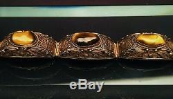 Bracelet En Argent Filigrane Doré Avec Yeux De Tigre Et Symbole De Longévité