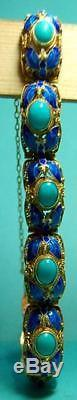 Bracelet En Émail Filigrane En Argent Sterling Doré Avec Turquoise Antique