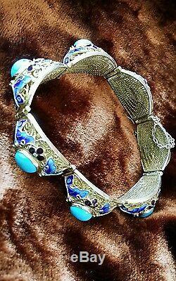 Bracelet En Émail Plaqué Or Cru Argent Chinois Turquoise Incrusté