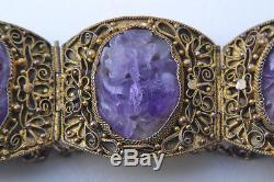 Bracelet En Filigrane / Bracelet En Améthyste Avec Bracelet En Argent Doré À L'améthyste