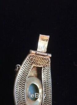 Bracelet En Filigrane D'argent Doré À La Jadéite Chinoise, 19e / 20e Et Fleurs En Émail