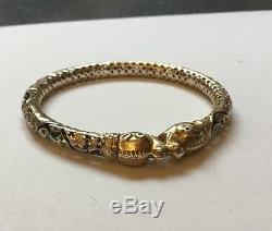 Bracelet En Filigrane D'époque Dragon Chinois Chassant Perle D'argent Incrusté D'émail Doré