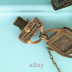 Bracelet En Filigrane Doré Avec Émail Et Topaze