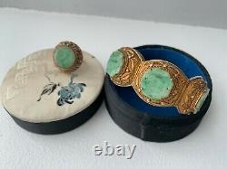 Bracelet En Filigrane Doré Doré Doré Chinois Jade Jadeite Avec Boîte Originale
