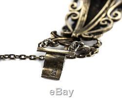Bracelet En Jade Jadéite En Filigrane D'argent De Chine Doré À La Chinoise. Fabriqué À La Main C1920