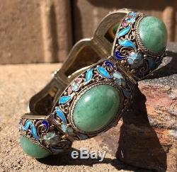 Bracelet En Jade Jadéite Jade Jadéite Apple Ancien Exportateur Chinois Doré À L'or Fin Émaillé