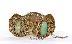 Bracelet En Tourmaline Jade Jadéite En Filigrane D'argent Massif Chinois Doré Mk