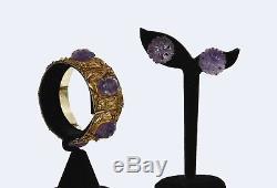 Bracelet Et Boucles D'oreilles Sculptés En Améthyste En Filigrane D'argent Sterling Doré Des Années 1930