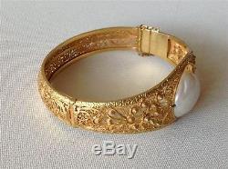 Bracelet Europe En Argent Doré D'époque Xixème Avec Perle Énorme (m1035)