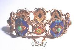 Bracelet Filigree Antique Chinois 800 Argent Email Cloisonne Doré
