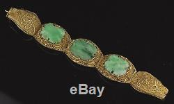 Bracelet Jade Doré Antique En Filigrane D'argent