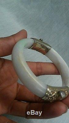 Bracelet Jante Vintage Vintage En Argent Doré Avec Charnière Et Bracelet En Jade