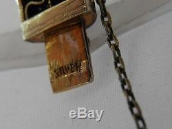 Bracelet Jonc Déco Chinois En Argent Émaillé Doré Antique 36 Grammes