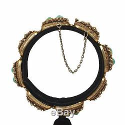 Bracelet Jonc Vintage Chinois Doré Filigrane Turquoise Galets Marqué