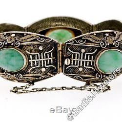 Bracelet Jonc Vintage En Filigrane Jade Ovale En Argent Massif Doré D'époque
