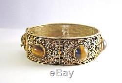 Bracelet Manchette Chinois Antique En Filigrane Avec Doré Et 6 Cabochons En Oeil De Tigre